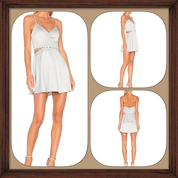 e02ad1bffa NBD Silver Brandi Skater Satin Dress Size XS EUC. M 5c1572db6a0bb79bb75b7c08